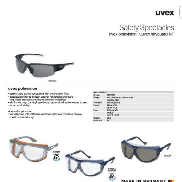 عینک ایمنی uvex مدل POLAVISION