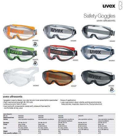 عینک ایمنی uvex مدل ultrasonic 9301